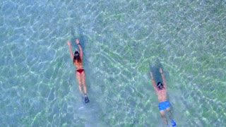 Couple Snoreling in Tropical Clear Blue Water from Aerial Drone