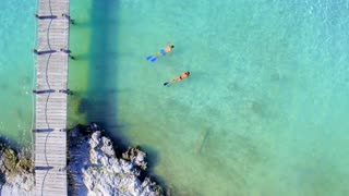 Couple Snoreling in Tropical Clear Blue Water Near Dock from Aerial Drone 4