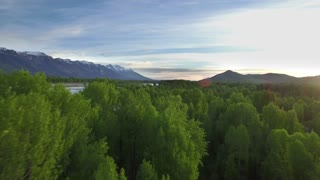 Drone view from tree tops of mountains and river