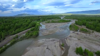 Drone view of beautiful Wyoming mountains and landscape