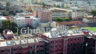 Drone view of Ghirardelli sign in San Francisco 2
