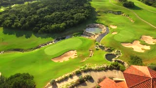 Drone view of San Antonio golf course under blue sky 6