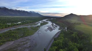 Gorgeous drone view of mountains and forest by river 5