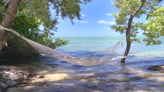 Hammock in front of tropical ocean on sunny day