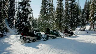 Isolated snowmobiles in the woods