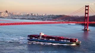 Large ship crosses under Golden Gate Bridge by San Francisco 2