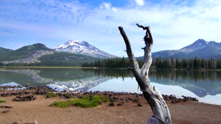 Oregon lake by forest and mountainside 2