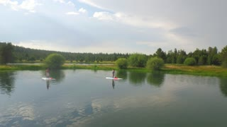 Paddle boarders ride on water by green forest and beautiful sky