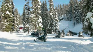 People ride snowmobiles through snow covered woods 3