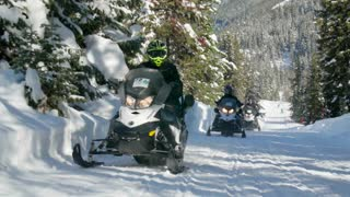 People ride snowmobiles through snow covered woods