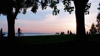 Person rides a bike through a park during sunset