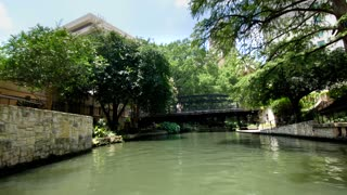 San Antonio riverwalk view going under bridge on sunny day 2
