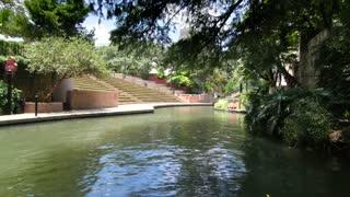 San Antonio riverwalk view going under bridge on sunny day 5
