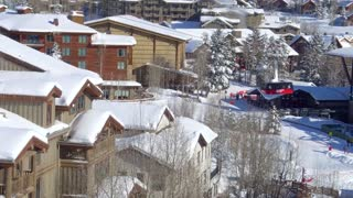 Ski lift above winter village at Jackson Hole