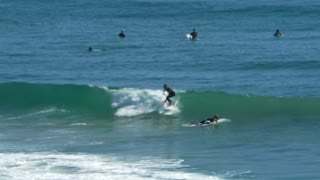 Surfer catches and rides wave while other surfers watch 2