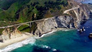 Arch and Bridge Along Big Sur Coast by Aerial Drone