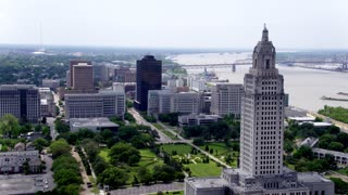 Baton Rouge Skyline & Capitol Building, Louisiana, Drone