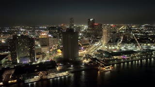 Beautiful New Orleans Skyline and Buildings, Night (Drone)