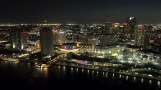 Beautiful New Orleans Skyline at Night (Drone)