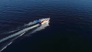 Boat on River near Seattle by Aerial Drone