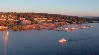 Boats on River near Seattle by Aerial Drone