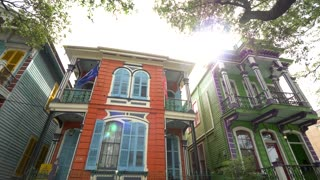 Colorful Hotel and Houses, New Orleans French Architecture (Panning)