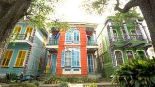 Colorful Hotel on New Orleans Street, French Architecture