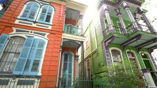 Colorful Houses, New Orleans French Architecture (Close)