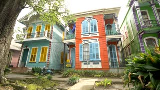 Colorful Houses on New Orleans Street, French Architecture