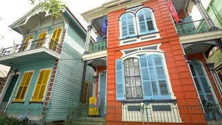 Colorful New Orleans Hotel and Houses, Beautiful French Architecture (Close)