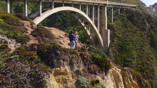 Couple at Vista Point in Big Sur by Aerial Drone