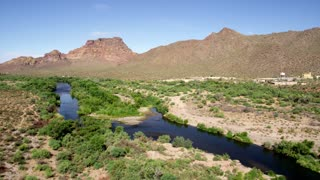 Desert River and Mountains