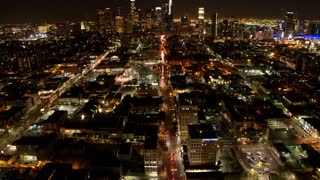 Downtown LA at Night by Aerial Drone