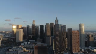Downtown LA at Sunset by Aerial Drone