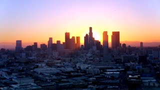 Downtown Los Angeles at Sunset by Aerial Drone
