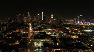 Downtown Los Angeles Night-Time Timelapse by Aerial Drone