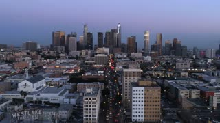 Downtown Los Angeles Skyline Time-lapse by Aerial Drone