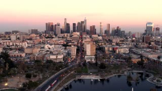 Downtown Los Angeles Sunset Timelapse by Aerial Drone