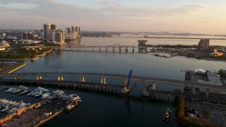 Downtown Miami at Sunset by Aerial Drone