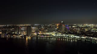 Drone Shot, New Orleans Skyline Over Mississippi River (Night)