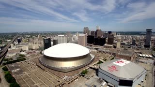 Drone Shot of Superdome and Smoothie King Center, 360