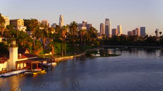 Echo Park with view of Downtown Los Angeles