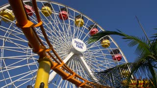 Ferris Wheel and Roller Coaster at Santa Monica Pacific Pier