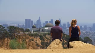 Hikers Above Griffith Park Observatory