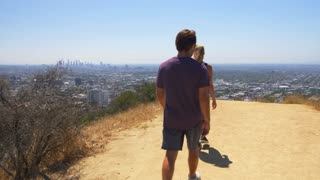 Hikers at Runyon Canyon Above Los Angeles