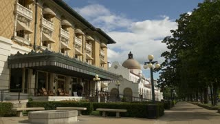 Historic Building and Monument, Outdoor Seating in Hot Springs - Slow Motion