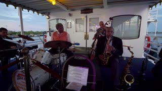 Jazz Band Playing on Riverboat, New Orleans