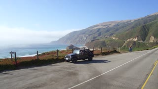 Jeep parking off PCH in Big Sur by Aerial Drone
