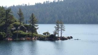 Kayakers in Emerald Bay Lake Tahoe by Aerial Drone