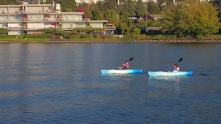 Kayakers on River Near Seattle by Aerial Drone